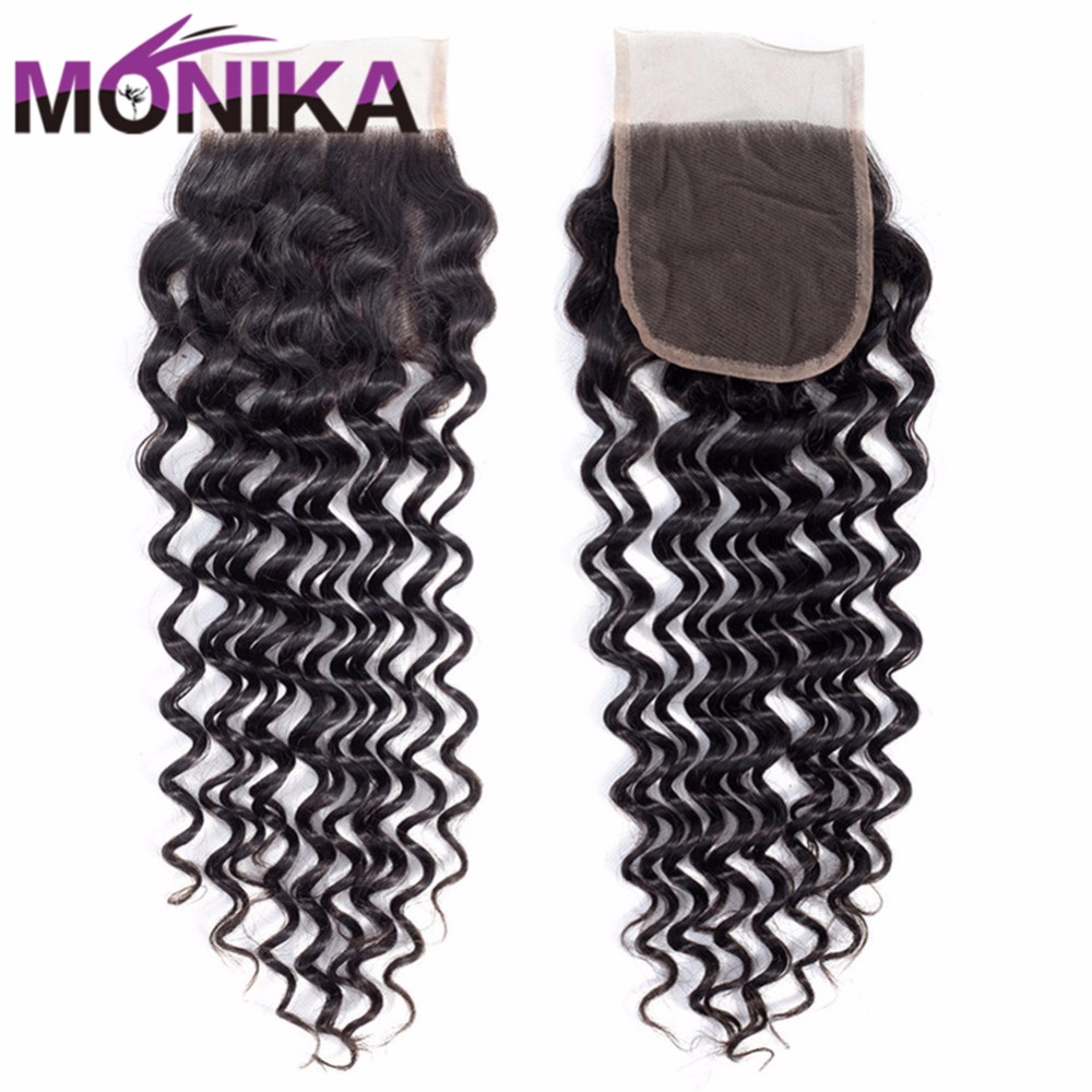 Monika Hair Brazilian Deep Wave Lace Closure 4*4 Human Hair Closure Swiss Lace Non Remy Hair Free Middle Part Deep Culry Closure