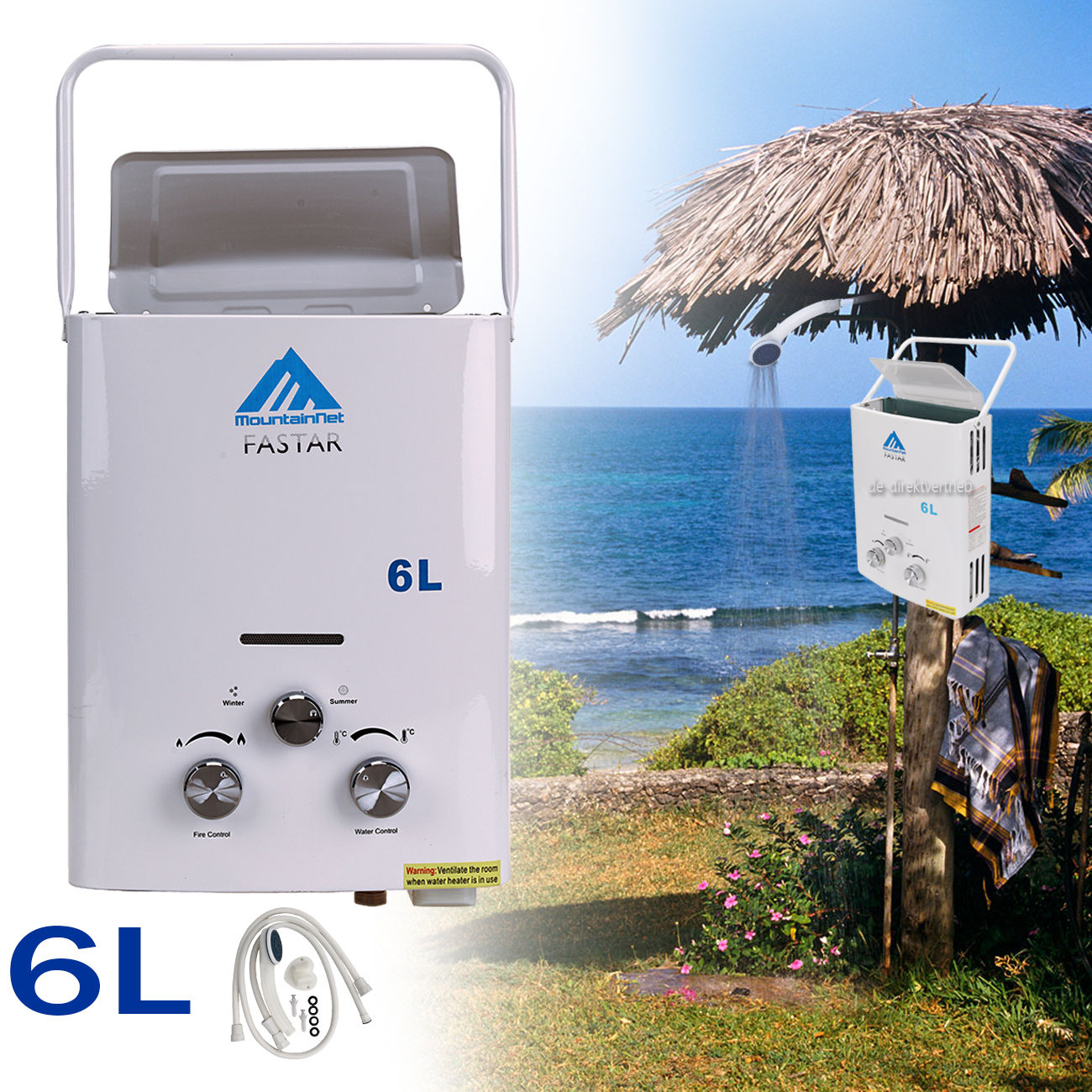Hot Sales Portable Water Heater CAMPER CAMPING WATER HEATER BOILER LPG Gas 12KW 6L + INSTANT SHOWER Self Build