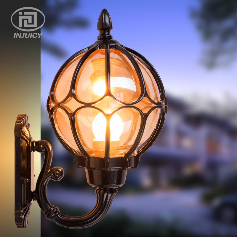 European Style Retro Wall Lamp Villa Courtyard Outdoor Porch Light Glass Ball Terrace Balcony Outdoor Waterproof