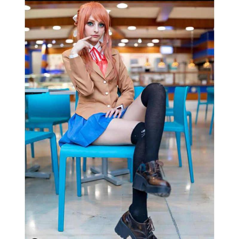 ROLECOS Game Doki Doki Literatuur Club Cosplay Monika Hoofddeksels Lange Rode Pony Haaraccessoires Cosplay Synthetisch Haar