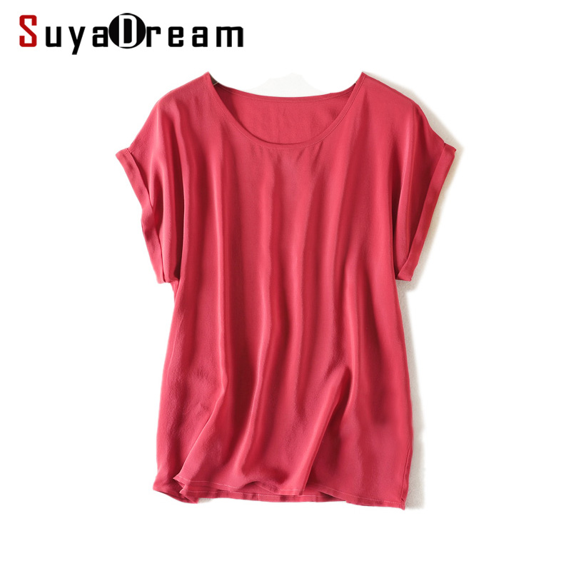 Women Real Silk T Shirt Short Sleeved Candy Color Chiffon Loose Shirt 100% Natural Silk Basic Top Plus Size 2018 Free Ship
