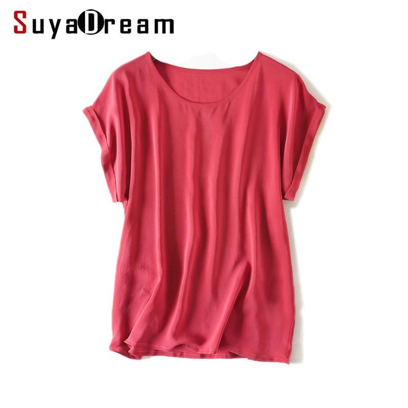 Women Real Silk T Shirt Short Sleeved Candy Color Chiffon Loose Shirt 100% Natural Silk Basic Top Plus Size 2018 Free Ship