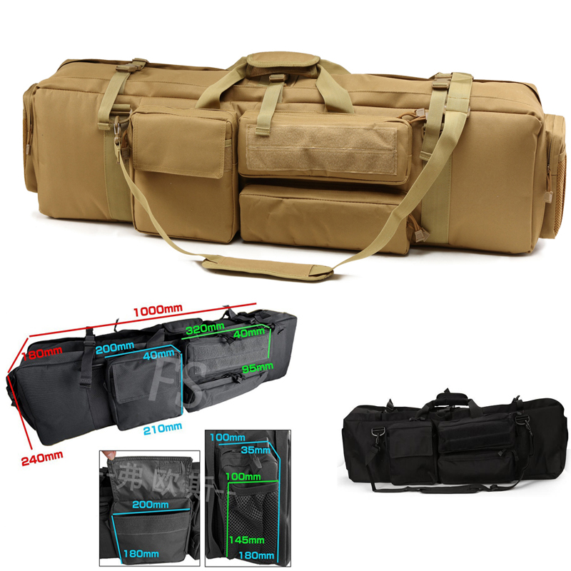 About 100cm Tactical Hunting Backpack Dual Rifle Square Carry Bag With Shoulder Strap Gun Protection Case