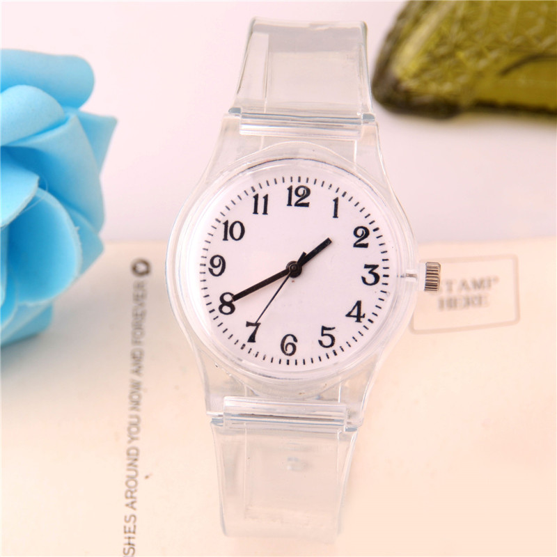 Transparent Silicone Strap Watches Women Sport Quartz Wristwatch Fashion Casual Crystal Ladies Watch Novelty Cartoon Clock