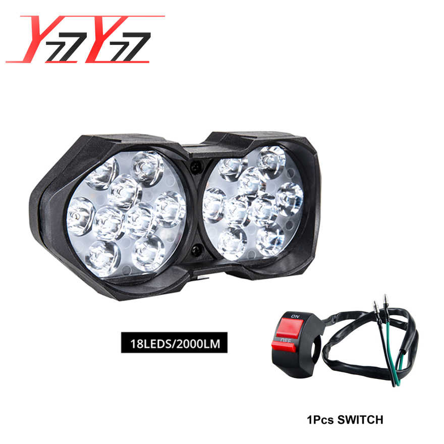 YzzYzz Motorcycle Headlight 18LED Super bright 12V Spotlight 1000LM/2000LM Assembly+Switch Moto for Mopeds Scooter Headlamp