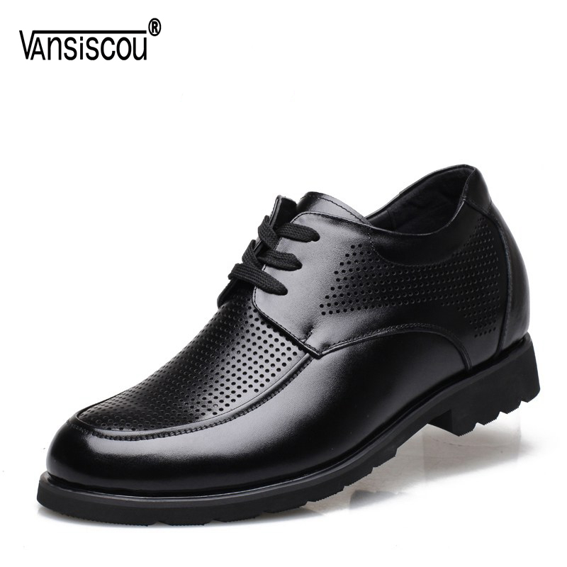 VANSISCOU Men Genuine Leather Elevator Shoes Lace up Hidden Heel Shoes Hollow Out Lifts Shoes Taller 6cm Round Toe Casual Shoes цена 2017