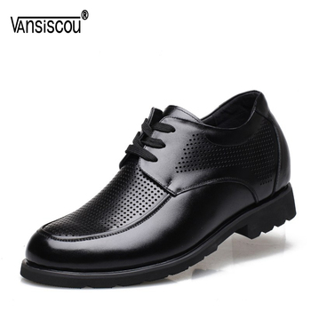 VANSISCOU Men Genuine Leather Elevator Shoes Lace up Hidden Heel Shoes Hollow Out Lifts Shoes Taller 6cm Round Toe Casual Shoes Обувь