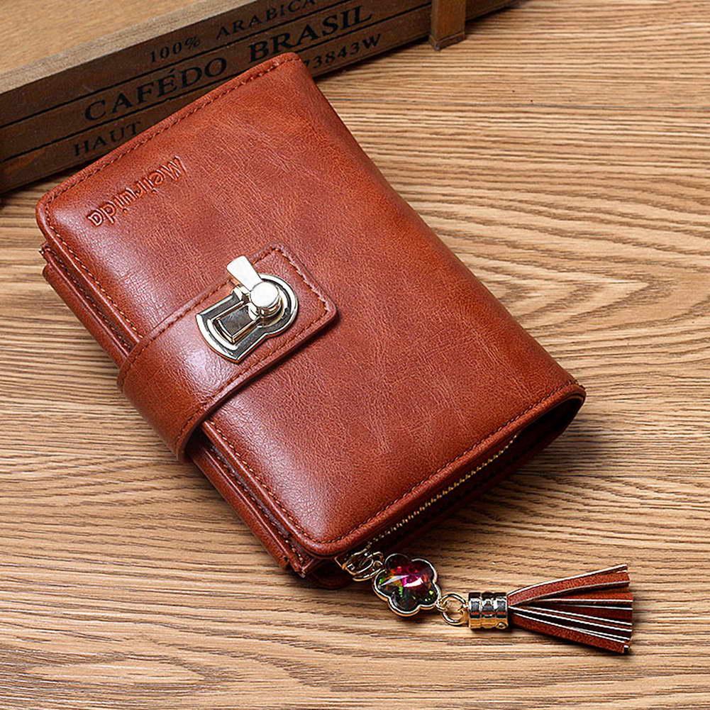 Fashion Korean Women's Bag Three-fold Zipper Version Wallet Diamond Round Lock Tassel Durable PU Hand-made Leather Card Package