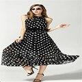 The new fashion elegant o-neck polka dot print chiffon slim one-piece dress full dress girls student dress women's free shipping