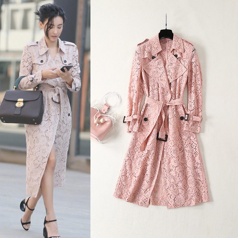 Women's high quality double-breasted lace trench coat  2019 spring brand new design belt windbreaker coat A266