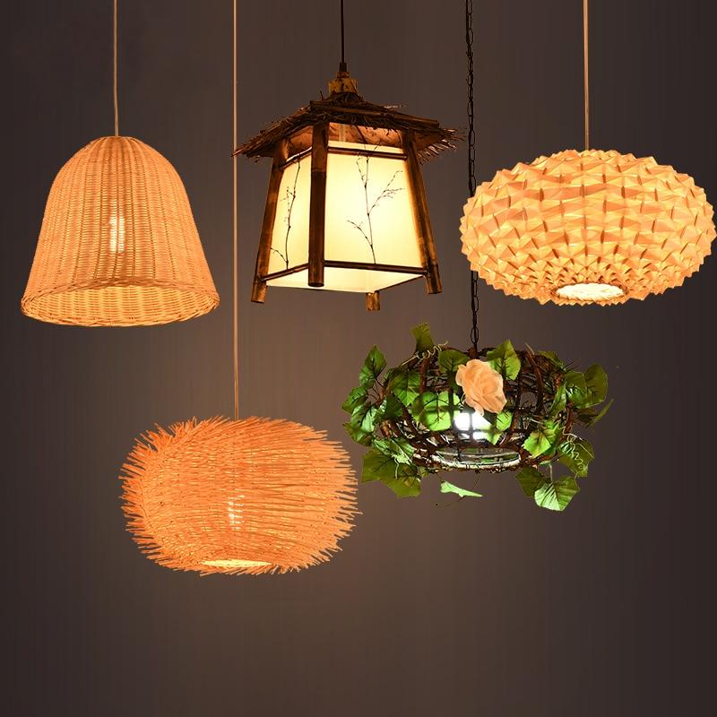 Pastoral Vintage Rattan Chandelier Restaurant Straw Hat Creative Lamp