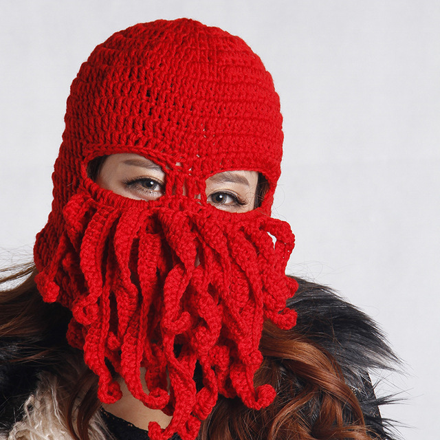 1a6919fe98d Handmade Funny Animal Cthulu Beards Tentacle Octopus Cthulhu Knit Beanie  Hat Cap Wind Mask Men s Women s Birthday Gift Hat