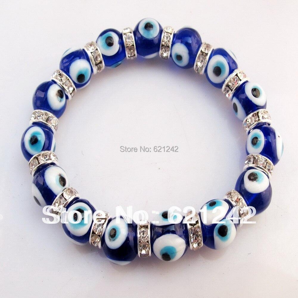 Blue Charm Bracelet: WholesaleWomen Bangle 12pcs/lot Punk Turkish Murano Glass