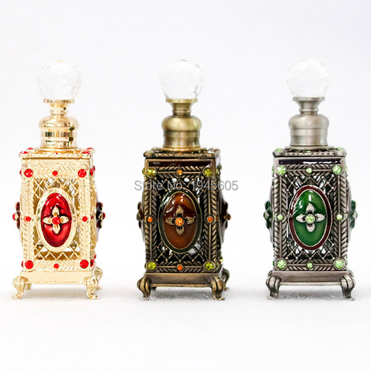 6ml Metal Perfume Essential Oil Vintage Refillable Bottle Glass Empty Attar Oil Container Gift Factory Outlet#5618/56509