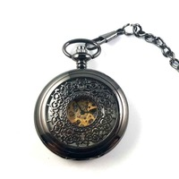 Retro Mens Hollow Steampunk Skeleton Mechanical Hand Wind Analog Polished Pocket Watch Black With Chain Fashion