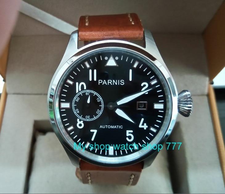 47mm big pilot PARNIS Black dial Automatic Self-Wind movement Auto Date men watches luminous Mechanical watches df133A