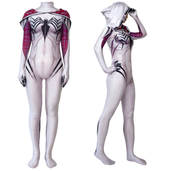 цена Women Girls Venom Spider Gwen Stacy Cosplay Costume Spider Zentai Superhero Bodysuit Suit Jumpsuits онлайн в 2017 году