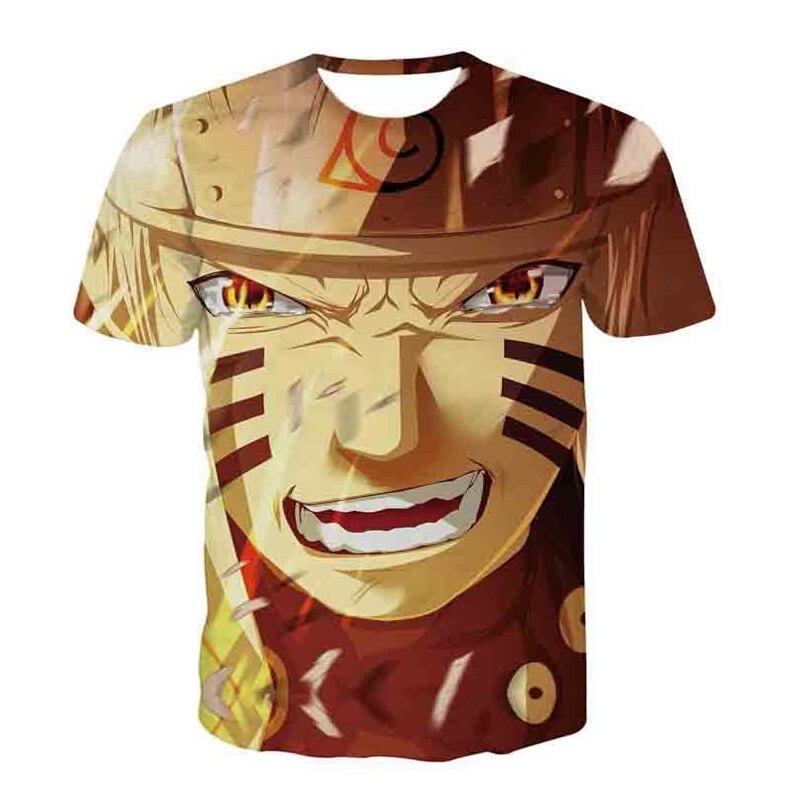 Naruto Cartoon T-shirts Uzumaki Naruto Hatake Kakashi Uchiha Sasuke Print Hip Hop 3D Anime T Shirts Harajuku Tee Tops