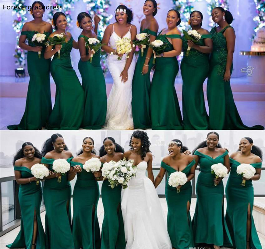 South African Dark Green Summer Boho Bridesmaids Dresses Elegant Off-the-shoulder Mermaid Split Long Wedding Guest Gowns Plus Size BM0617  78 (2)_1