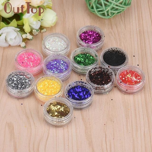 Nail Art Tips Decoration 12 Colors Box Set Hexagon Glitter For Uv