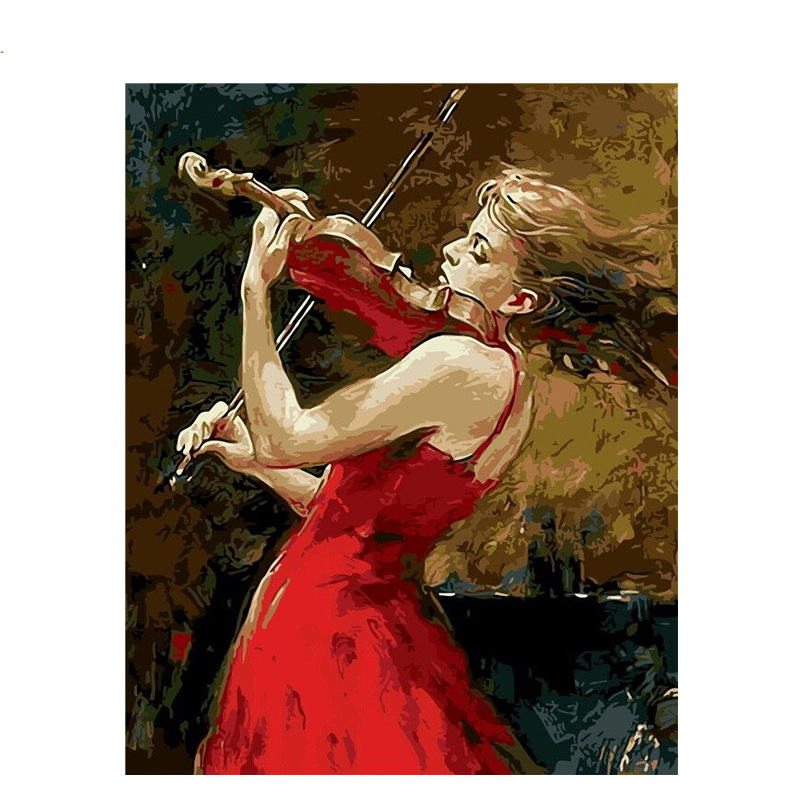 Violin Red Dress Girl DIY Painting By Numbers Kits Drawing On Canvas Home Wall Art Decor Handpainted For Artwork