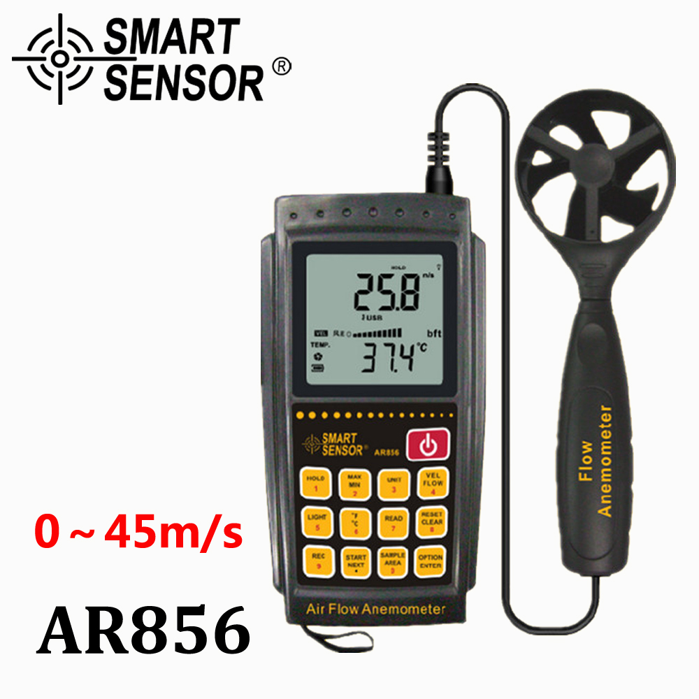 Digital air Flow Anemometer Wind Speed Air Volume Thermometer 0.3~45m/s USB weather station instruments SmartSensor AR856