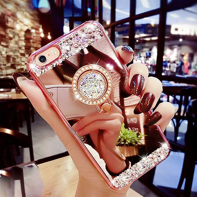 Rose Gold Case for Samsung Galaxy S8 S9 Plus S6 S7 edge Note 8 9 A3 A5 A7 2017 A6 A8 2018 Mirror Diamond Ring Glitter Cover Capa