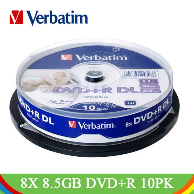 Verbatim DVD + R DL 8.5 GB 8X10 Pk Trục Chính Rộng Màu Trắng Máy In Phun Có Thể In Ghi Phương Tiện Truyền Thông Đĩa Đôi dual Layer Trống Nhỏ Gọn