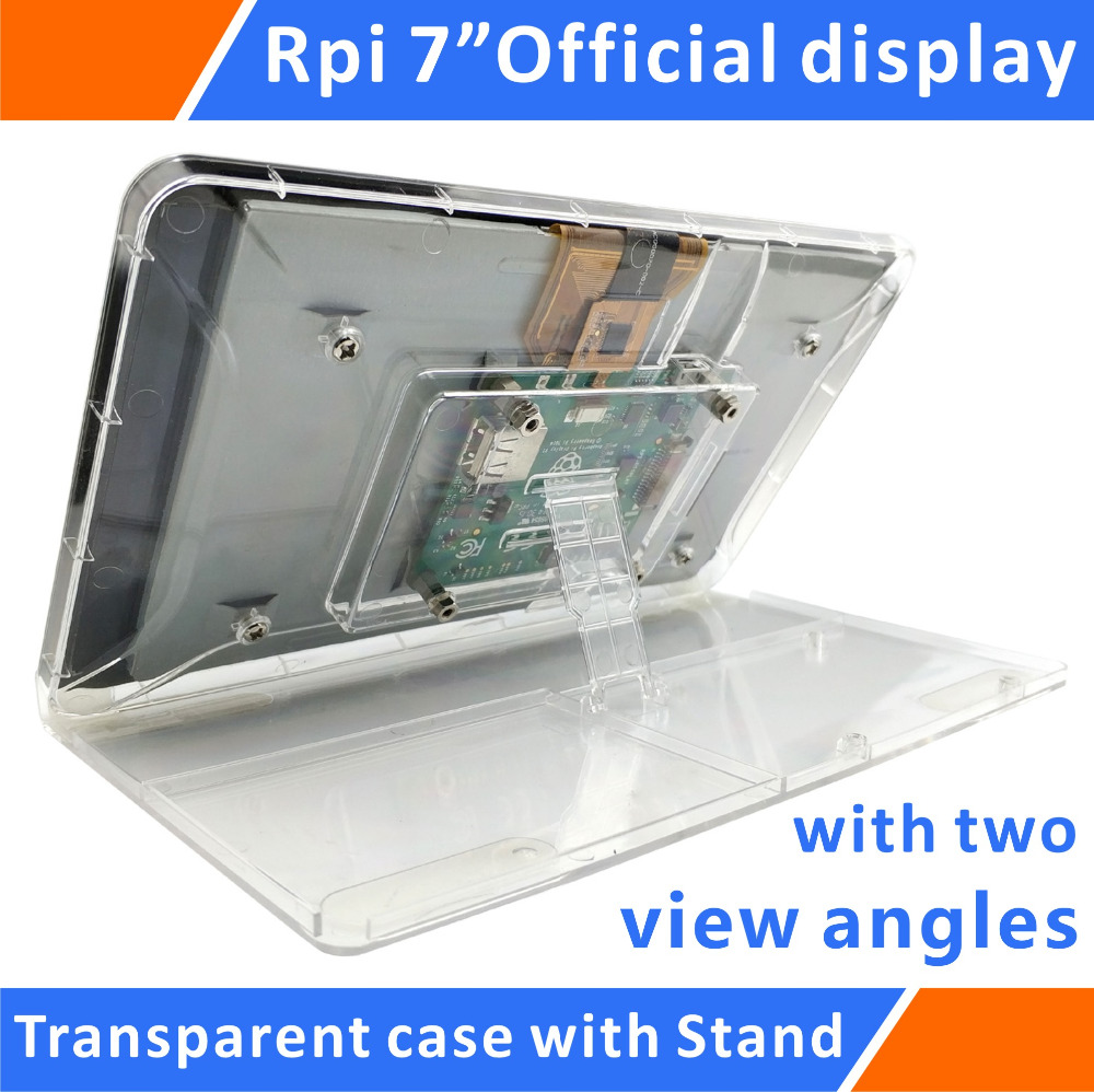Raspberry Pi Official 7 Touchscreen Display Transparent ABS Case With Adjustment Stand