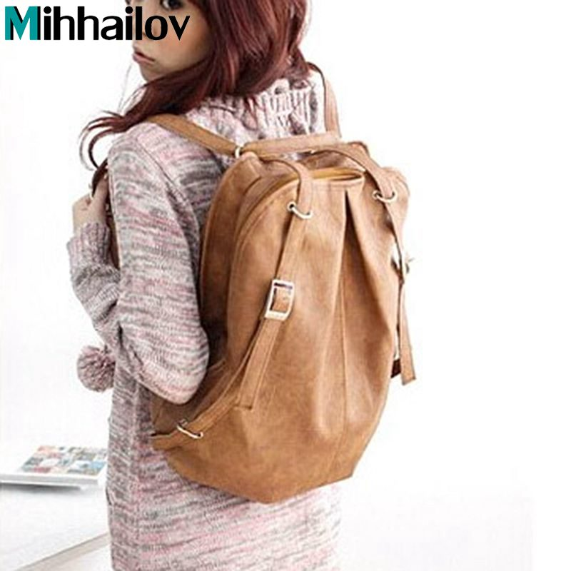 New Hots Korean Style Girl's PU Leather Backpack free shipping wholesale price BK64 dropship
