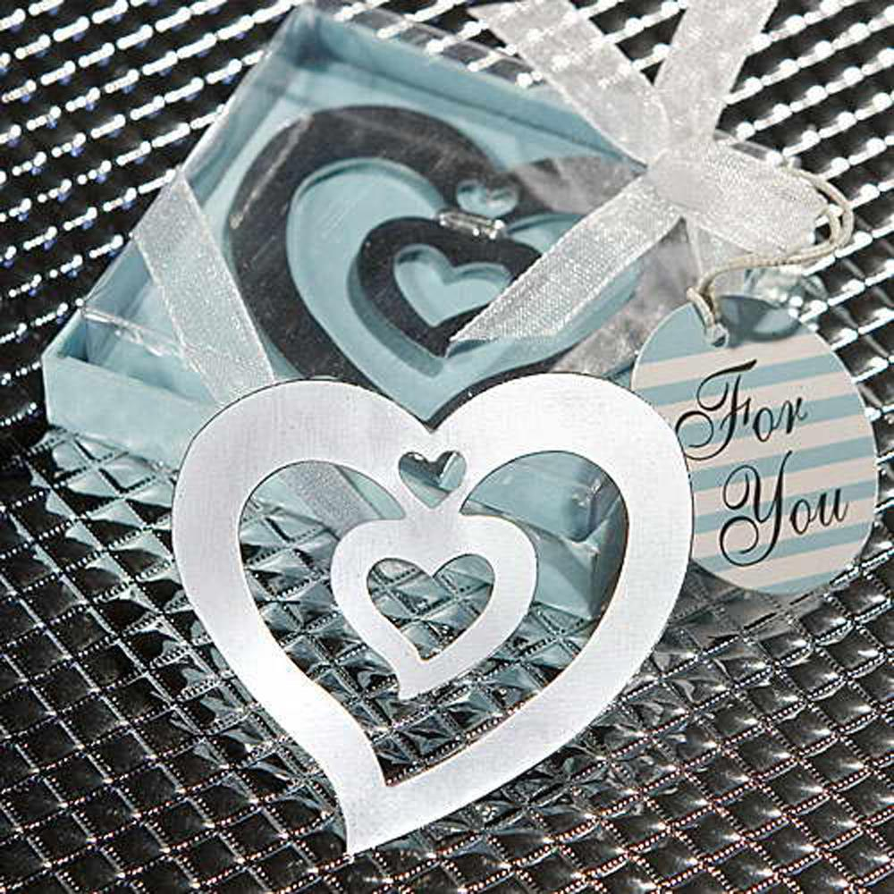 promotion Silver Heart Shaped Bookmark Christmas Xmas Stocking Filler Favour Gift Boxed