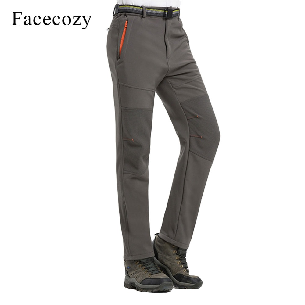 Facecozy Men Winter Thicken Skiing Hiking Pants Windproof With Warm Fleece Male Trousers Outdoor Sports Climbing Softshell Pants men plus size 4xl 5xl 6xl 7xl 8xl 9xl winter pant sport fleece lined softshell warm outdoor climbing snow soft shell pant