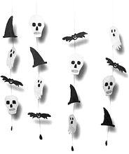 1pc Halloween Garland with Witchs Hat Ghost Bat Skull Tassel Door Hanging Decoration Sign Party Decor Black and White