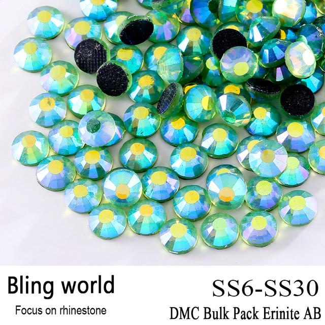 El CraftsOutlet DMC Hotfix de Cristal de Calidad Superior Redondo Erinite AB Embellecimiento Rhinestone Tamaño SS6 SS10 SS16 SS20 SS30