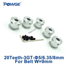 POWGE 5pcs 20 שיניים 3GT עיתוי גלגלת נשא 5mm 6.35mm 8mm עבור רוחב 9mm 3MGT 3GT עיתוי חגורת קטן backlash GT3 20 שיניים 20 Tpulley boretiming pulley boretiming pulley