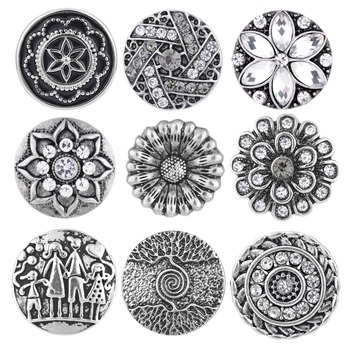 10pcs Newest Styles Anti-silver Snaps Mix Pack 18mm GingerSnaps Snap button Charms Snap Jewelry VN-1978 image