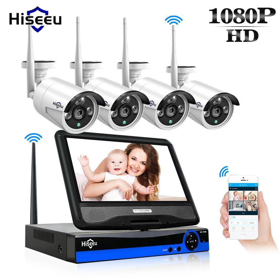 Hiseeu беспроводной видеонаблюдения системы Открытый IP камера видеонаблюдение NVR 4CH 1080 P 10 дюймов Displayer 1 ТБ HDD комплект