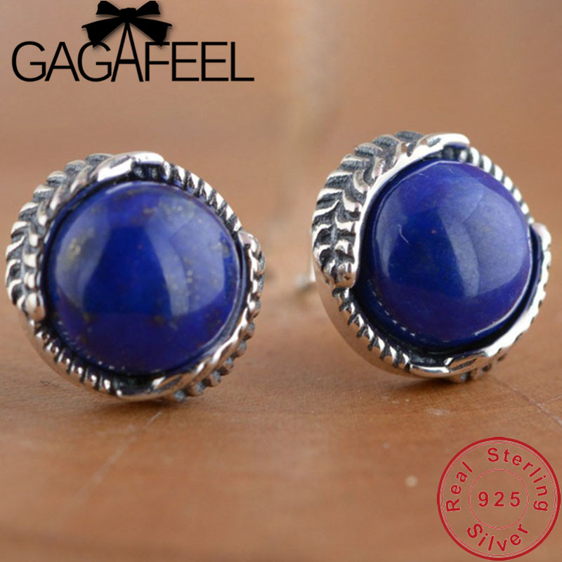 GAGAFEEL 925 Sterling Silver Lapis Lazuli Earrings Blue Stone Stud Earrings for Women Vintage Silver Jewelry copper jewelry leopard head hanging pearl stud earrings tiger head green rhinestone black stud earrings for women