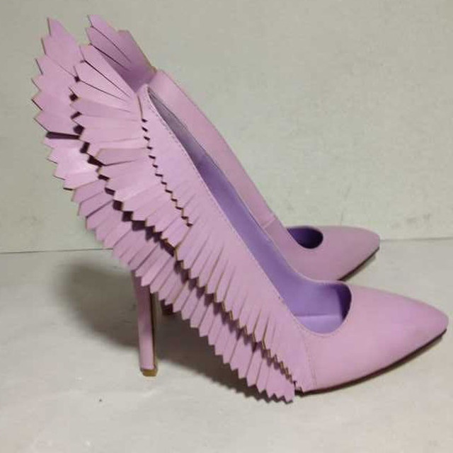 Y Beauty Purple Pink Angle Wings Tail Tel Decor Stiletto High Heels Pumps Pointed Toe Woman