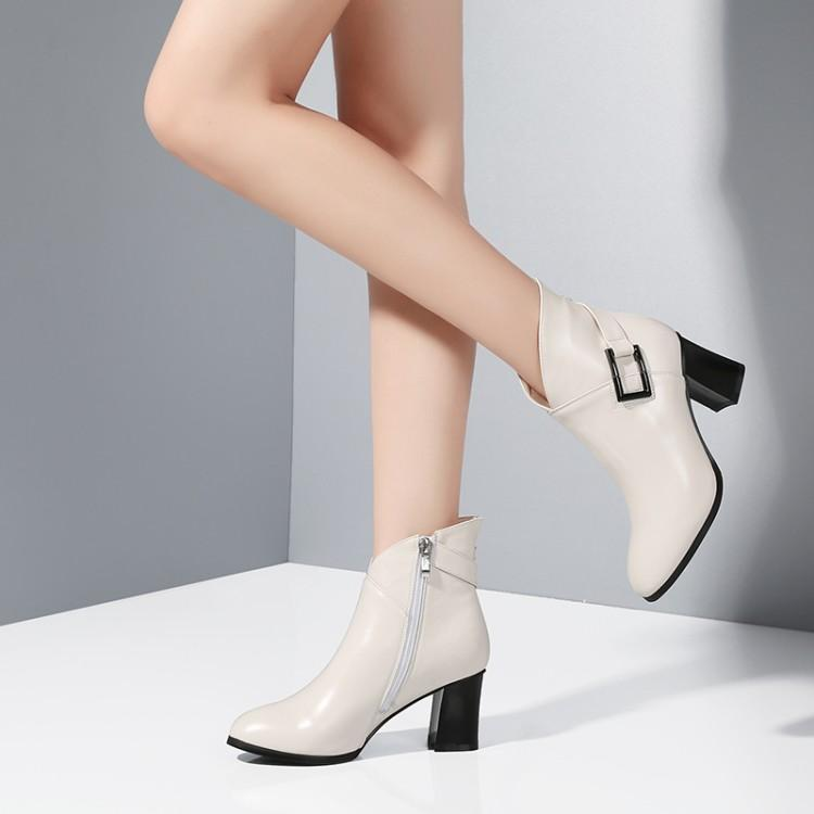 7543ef014 Rodada Preto branco Branco Couro Para As Chunky Costura Mulheres Metálicos  Ankle Heel Cinto Boots Preto Toe Sapatos ...