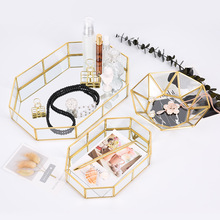 MRZOOT  Nordic Style Glass Storage Tray Ins Brass Gold Cosmetic Jewelry Home Decoration