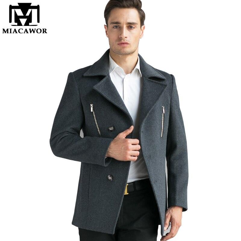 Miacawor New Winter Trench Coat Men High Quality Men Wool Trench Jacket Mens Overcoat Windbreaker Casual Men Jacket MJ373