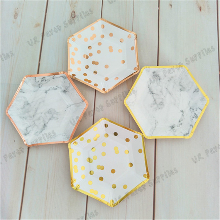 40pcs Marble Paper Plates Gold Small Trimmed Hexagon Party Plates Dessert Dishes for Engagement Bridal Shower Wedding -in Disposable Party Tableware from ... & 40pcs Marble Paper Plates Gold Small Trimmed Hexagon Party Plates ...
