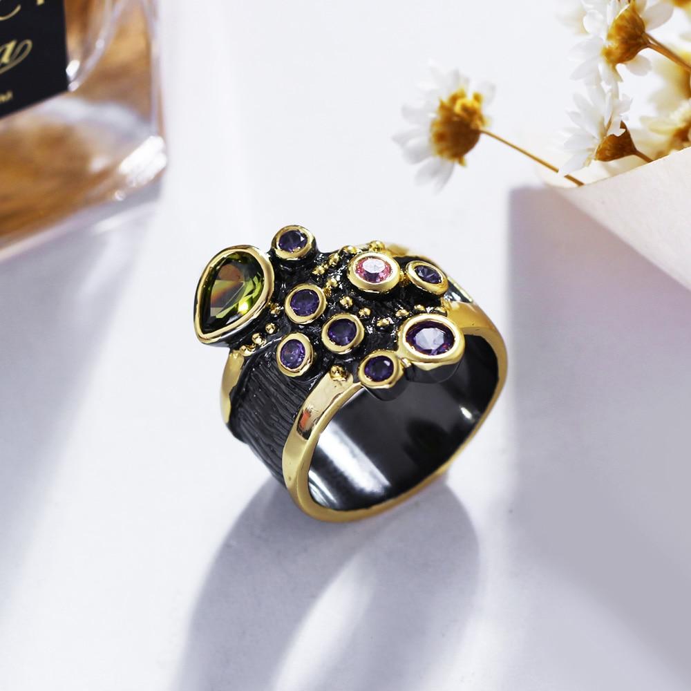 DreamCarnival Vintage Women Ring Multi Shape Farverige CZ Bryllup - Mode smykker - Foto 2