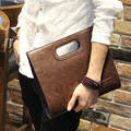 2016 Vintage Men Leather Designer Tote Handbag Men's Large Capacity Fashion Brown Envelope Clutch Bag