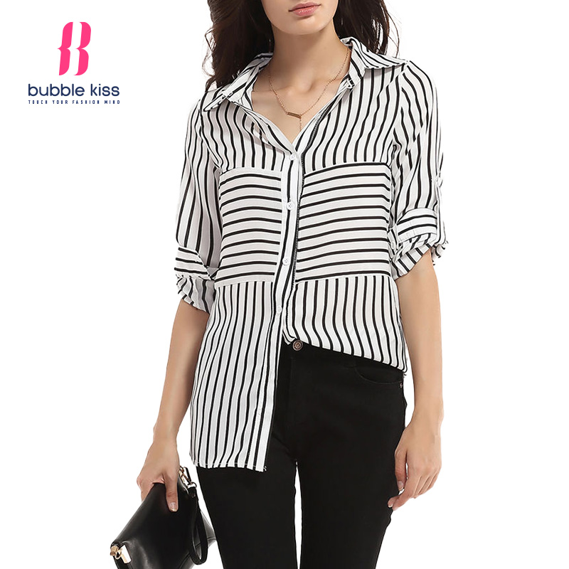 Striped Women Blouses Shirts Turn Down Collar Long Sleeve Female Shirts Autumn Spring Clothing Button Female