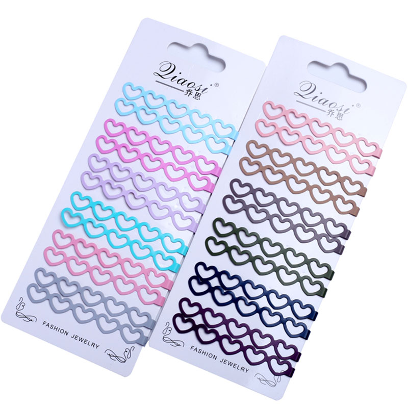 12pcs Long Hair Clips Large Heart Bobby Pins For Women Girls Hair Accessories Tools Flat Clip Hairpin Color Metal Curly Barrette
