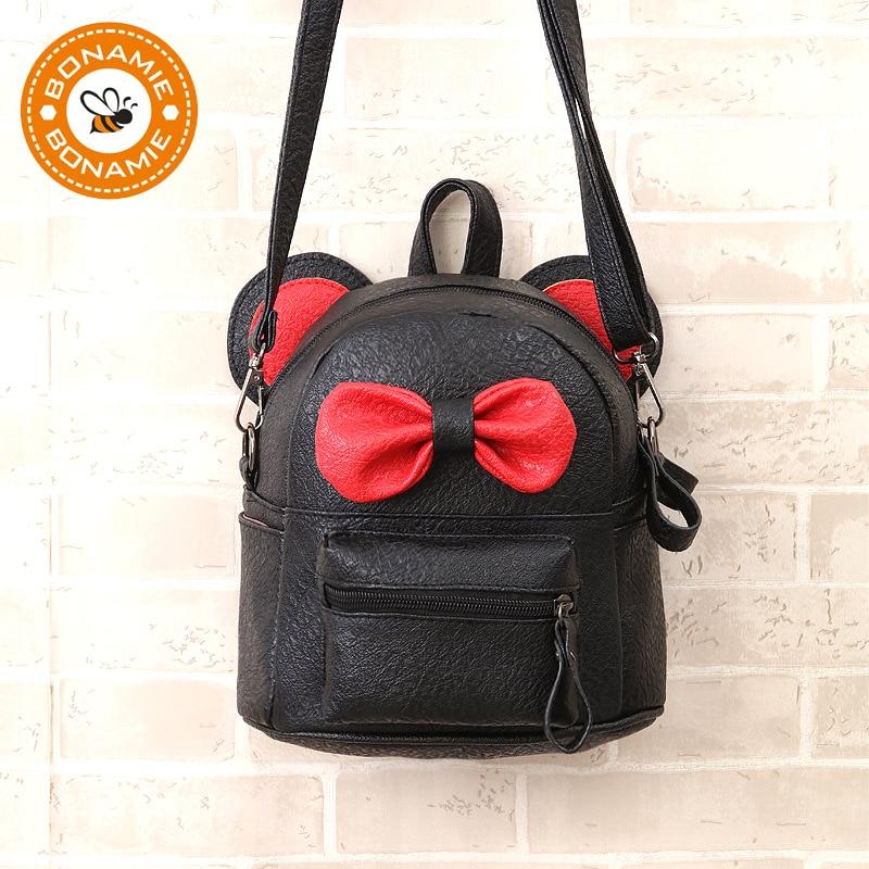 BONAMIE Mini Small Backpacks For Teenage Girls Bunny Cute Bow Backpack  Women Leather Dot Bow Back Bag Pink Mochila Feminina d244b0ffdc3a7