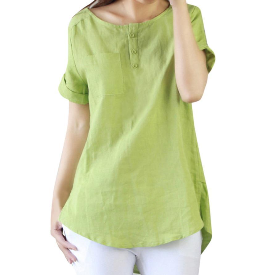 Hot O-neck Short sleeve Cotton Linen Women   Blouse     Shirts   Summer Solid Loose Casual   Blouse   Kawaii Women Tee   Shirt   clothing women