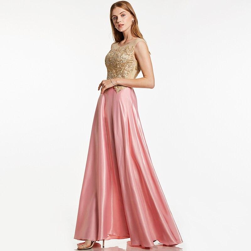 Tanpell appliques evening dress pink bateau neck sleeveless floor length a line gown cheap women formal prom long evening dress